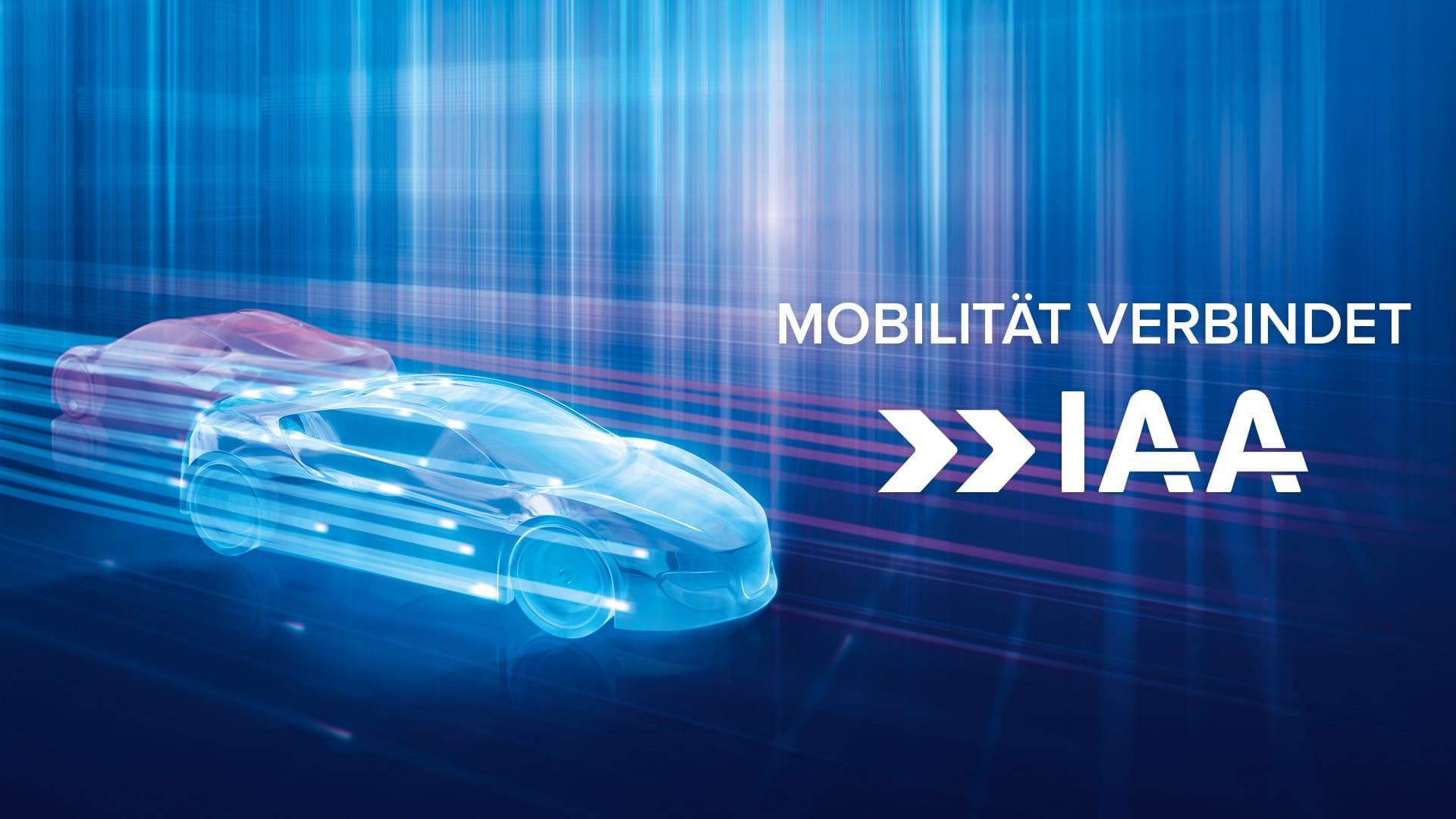 grafische Darstellung zweier Autos in hellblau und violett, die in gegensätzliche Richtungen fahren. Auf rechter Seite Slogan und Logo der IAA