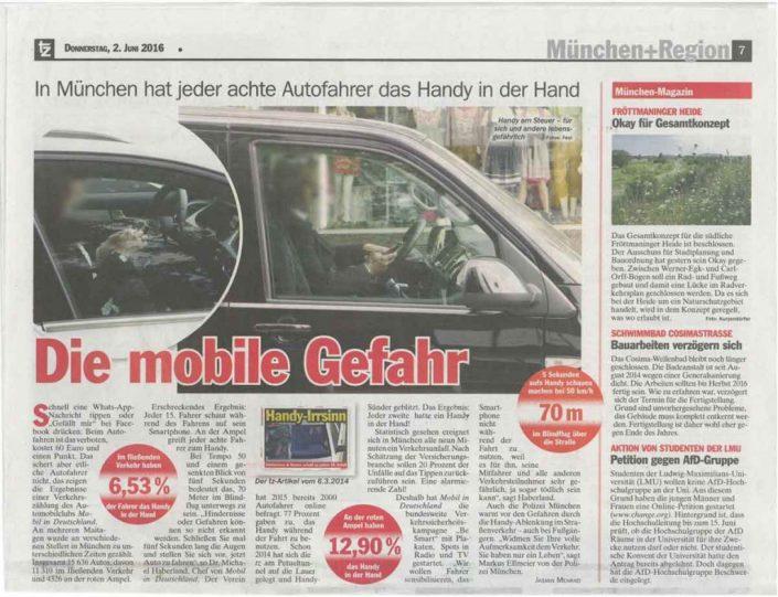 Scan eines Zeitungsartikels über die Gefahren des Handys am Steuer