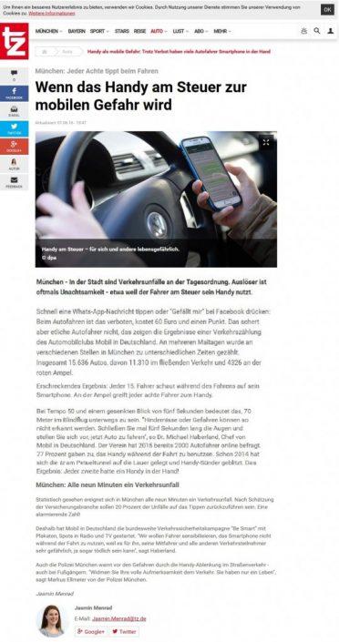 Screenshot eines Zeitungsartikels über die Gefahren des Handys am Steuer