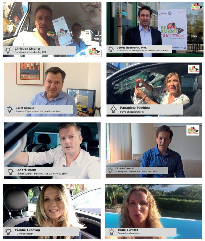 Übersicht aller prominenten Unterstützer der Verkehrssicherheitskampagne BE SMART! gegen Smartphone am Steuer