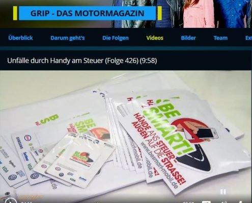 Be Smart! als Teil des Motormagazins Grip zu den Gefahren des Smartphones am Steuer