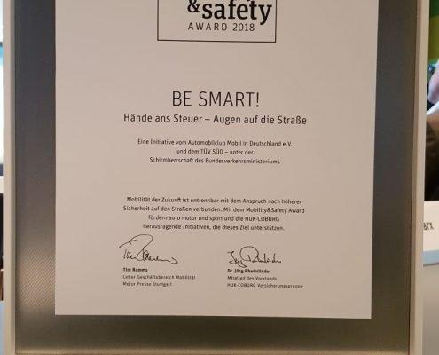 auto motor und sport mobility safety Award 2018 Urkunde