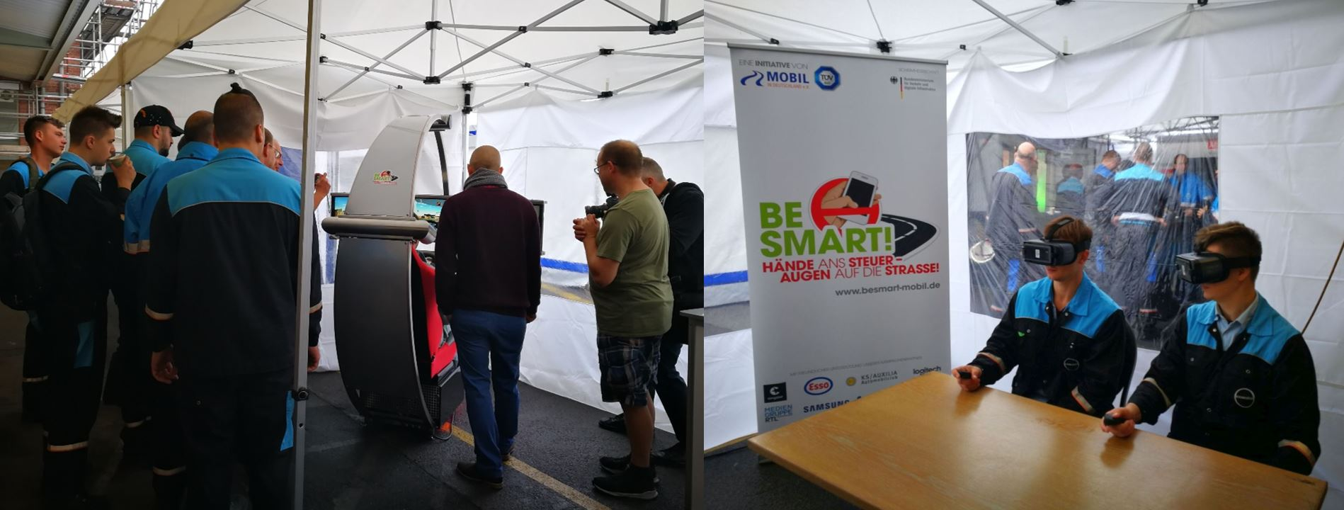 Verkehrssicherheits-Workshop BE SMART mit VR-Brillen und Fahrsimulator
