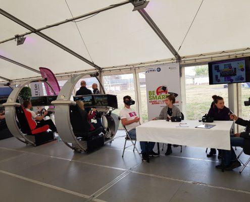 BE SMART Workshop bei Evonik Luelsdorf mit VR-Brillen und Fahrsimulator