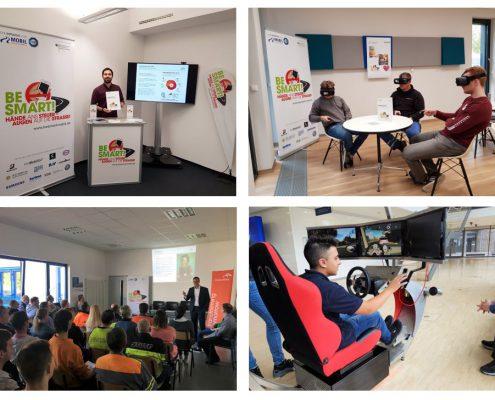 Module BE SMART! Workshops: Infostand, VR-Brillen,Vortrag und Fahrsimulator